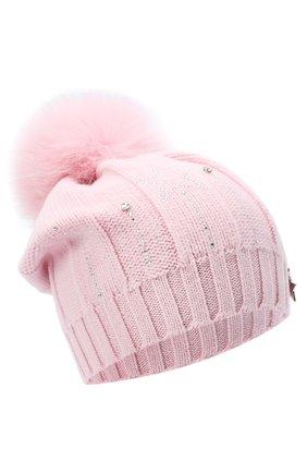 Детского шерстяная шапка с меховым помпоном IL TRENINO светло-розового цвета, арт. 20 8177/E0 | Фото 1