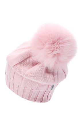 Детского шерстяная шапка с меховым помпоном IL TRENINO светло-розового цвета, арт. 20 8177/E0 | Фото 2