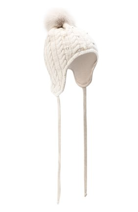 Детского шерстяная шапка с меховым помпоном IL TRENINO бежевого цвета, арт. 20 8180/E0 | Фото 1
