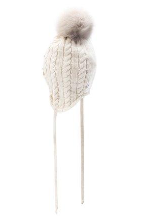 Детского шерстяная шапка с меховым помпоном IL TRENINO бежевого цвета, арт. 20 8180/E0 | Фото 2