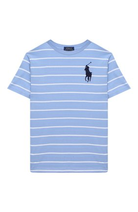 Детская хлопковая футболка POLO RALPH LAUREN голубого цвета, арт. 323786411 | Фото 1