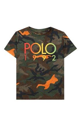 Детская хлопковая футболка POLO RALPH LAUREN хаки цвета, арт. 321803575 | Фото 1