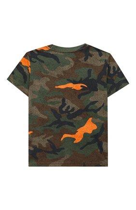 Детская хлопковая футболка POLO RALPH LAUREN хаки цвета, арт. 321803575 | Фото 2