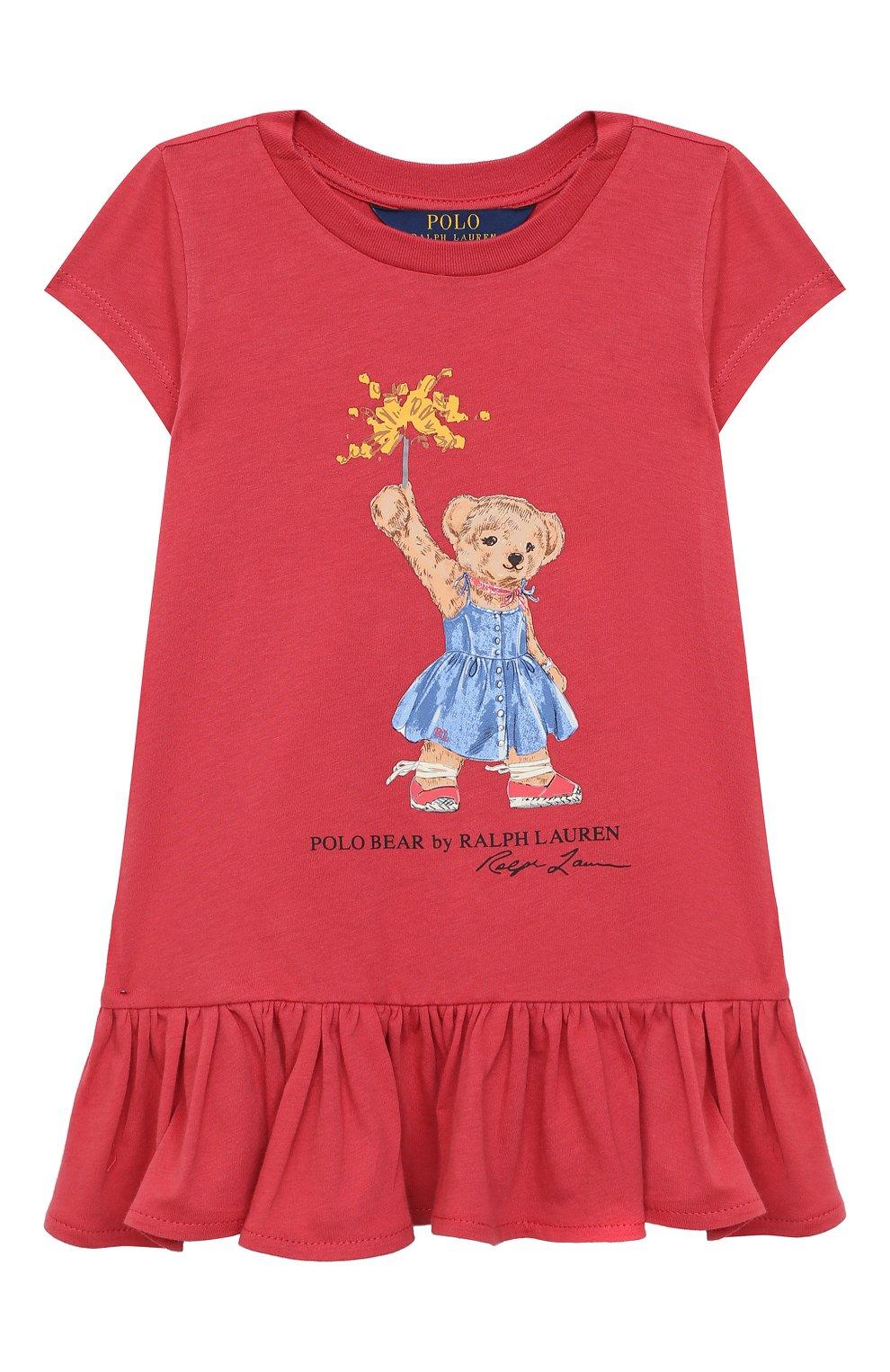 Детское хлопковое платье POLO RALPH LAUREN красного цвета, арт. 312790447 | Фото 1 (Рукава: Короткие; Случай: Повседневный; Материал внешний: Хлопок; Девочки Кросс-КТ: Платье-одежда)
