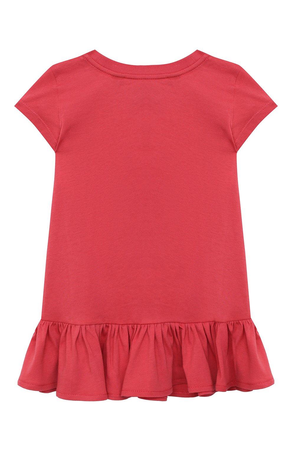 Детское хлопковое платье POLO RALPH LAUREN красного цвета, арт. 312790447 | Фото 2 (Рукава: Короткие; Случай: Повседневный; Материал внешний: Хлопок; Девочки Кросс-КТ: Платье-одежда)