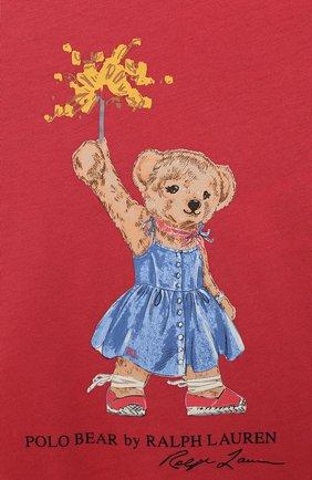 Детское хлопковое платье POLO RALPH LAUREN красного цвета, арт. 312790447 | Фото 3 (Рукава: Короткие; Случай: Повседневный; Материал внешний: Хлопок; Девочки Кросс-КТ: Платье-одежда)