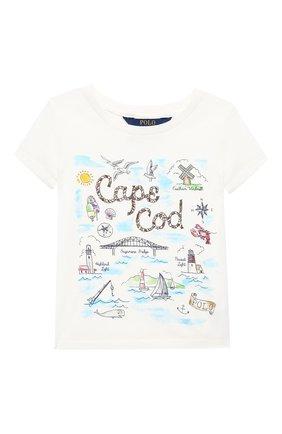 Детская хлопковая футболка POLO RALPH LAUREN белого цвета, арт. 311785449 | Фото 1