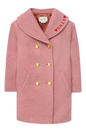 Детского шерстяное пальто GUCCI розового цвета, арт. 629437/XWALE | Фото 1