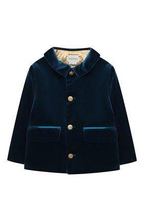 Детский хлопковый жакет GUCCI голубого цвета, арт. 626147/XWAJ9 | Фото 1
