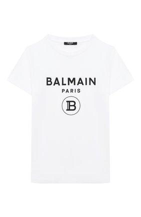 Детская хлопковая футболка BALMAIN белого цвета, арт. 6N8561/NX290/12-16 | Фото 1