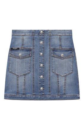 Детская джинсовая юбка BALMAIN голубого цвета, арт. 6N7040/NA320/12-16 | Фото 1