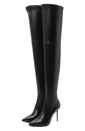 Женские кожаные ботфорты otk BALMAIN черного цвета, арт. UN1C511/LNSA | Фото 1 (Материал внутренний: Натуральная кожа; Подошва: Плоская; Каблук высота: Высокий; Каблук тип: Шпилька; Высота голенища: Высокие)