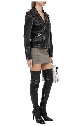 Женские кожаные ботфорты otk BALMAIN черного цвета, арт. UN1C511/LNSA | Фото 2 (Материал внутренний: Натуральная кожа; Подошва: Плоская; Каблук высота: Высокий; Каблук тип: Шпилька; Высота голенища: Высокие)