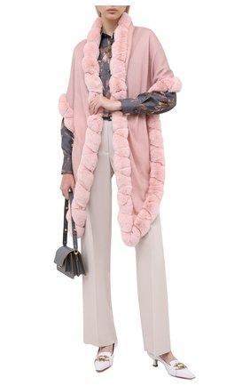 Женская кашемировая шаль с мехом шиншиллы LORO PIANA розового цвета, арт. FAI8699 | Фото 2