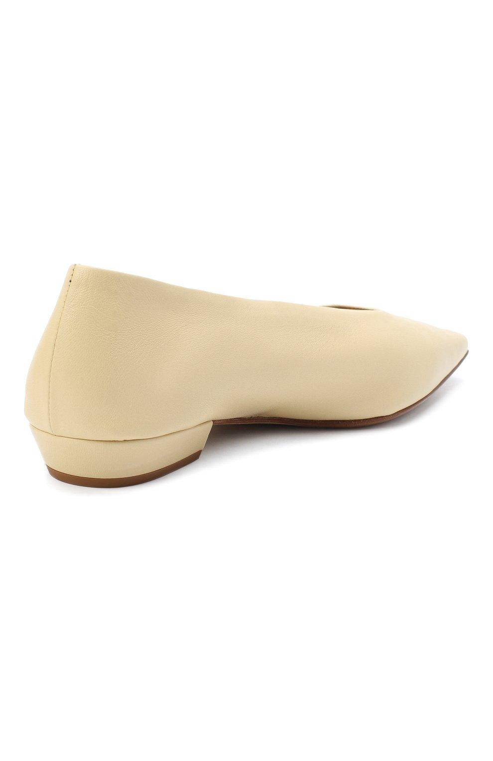 Женские кожаные балетки BOTTEGA VENETA светло-бежевого цвета, арт. 608872/VBSD0 | Фото 4