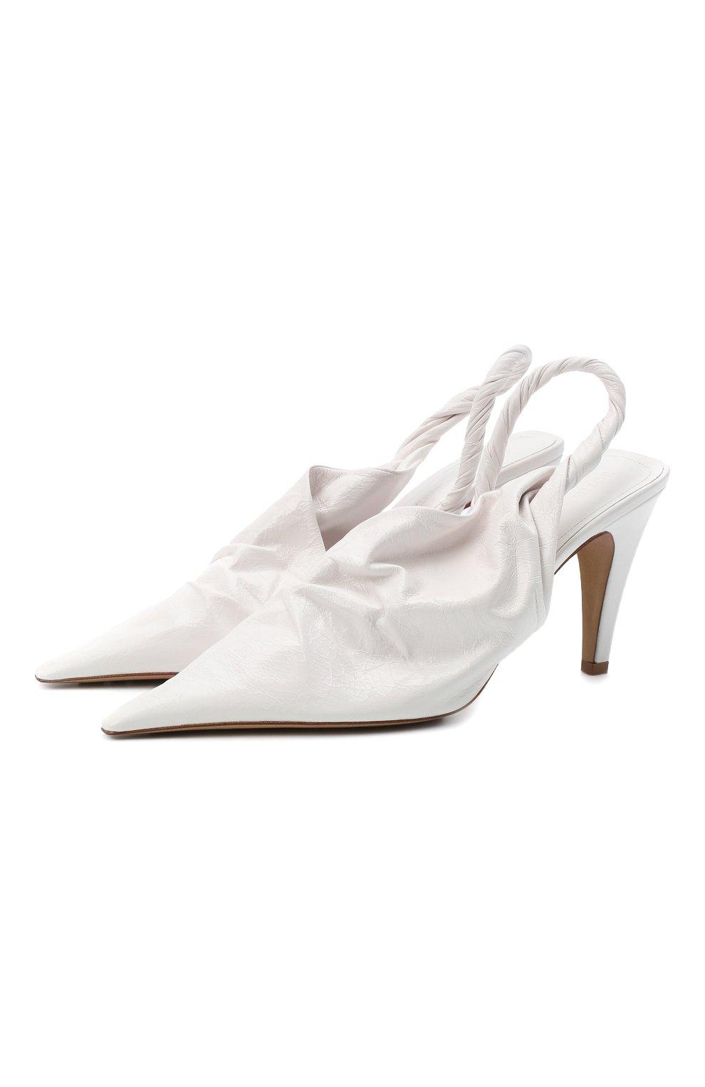 Женские кожаные туфли bv point BOTTEGA VENETA белого цвета, арт. 630183/VBP10 | Фото 1
