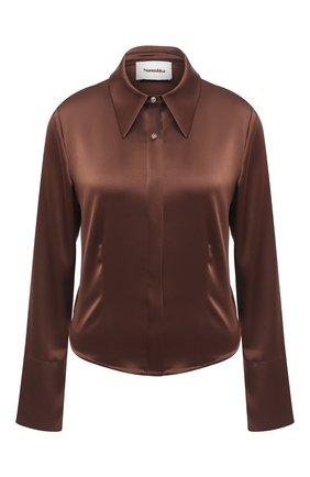 Женская блузка NANUSHKA коричневого цвета, арт. ALICE_BR0WN_SLIP SATIN   Фото 1