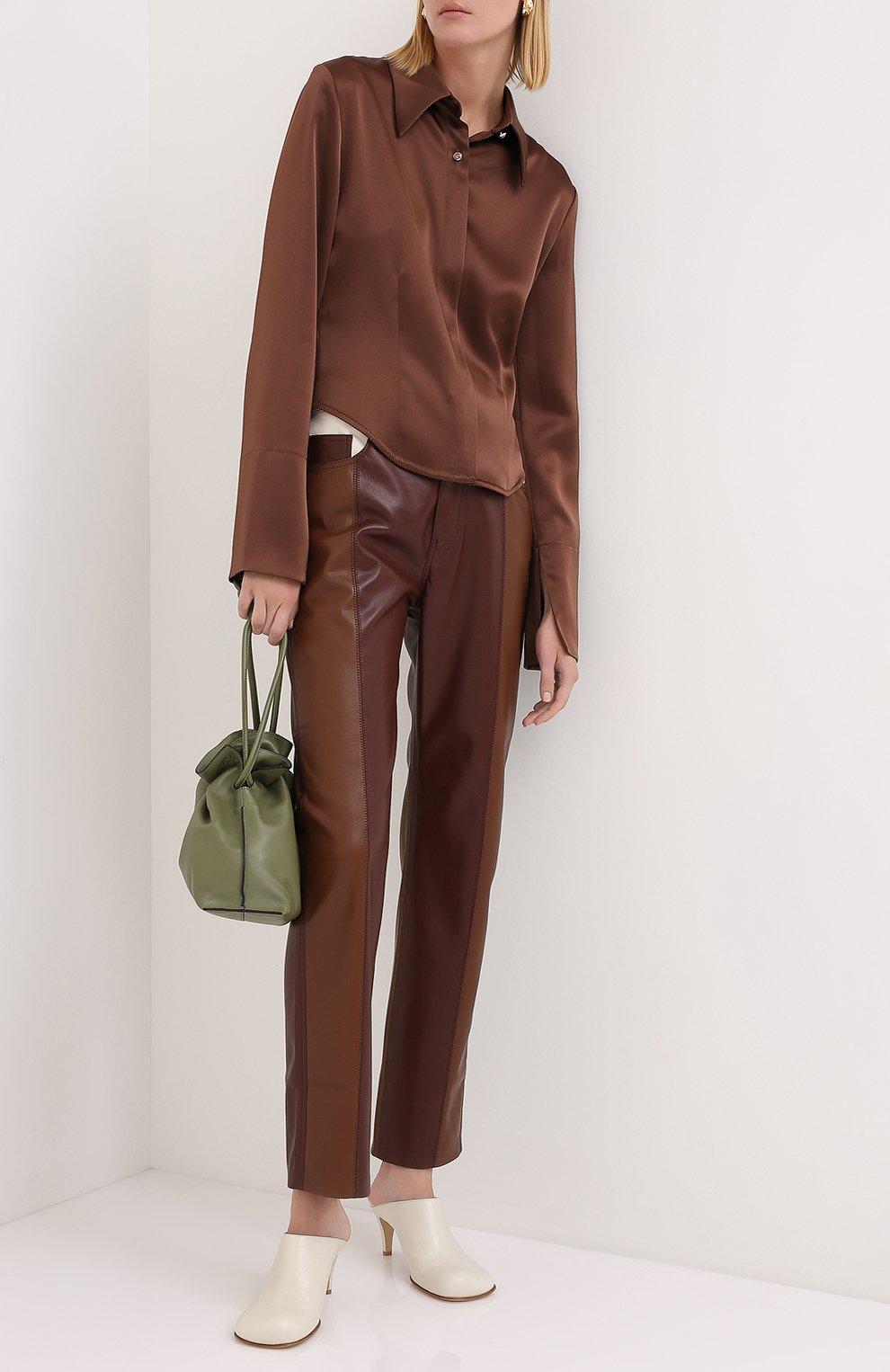 Женская блузка NANUSHKA коричневого цвета, арт. ALICE_BR0WN_SLIP SATIN   Фото 2