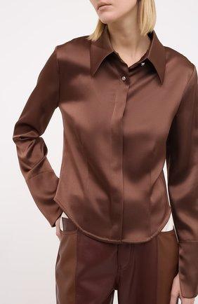 Женская блузка NANUSHKA коричневого цвета, арт. ALICE_BR0WN_SLIP SATIN   Фото 3