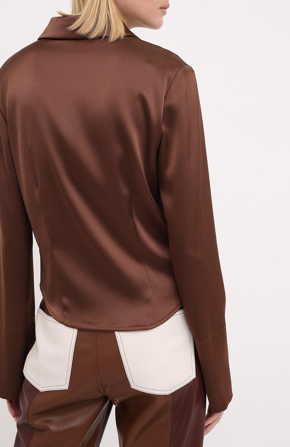 Женская блузка NANUSHKA коричневого цвета, арт. ALICE_BR0WN_SLIP SATIN   Фото 4