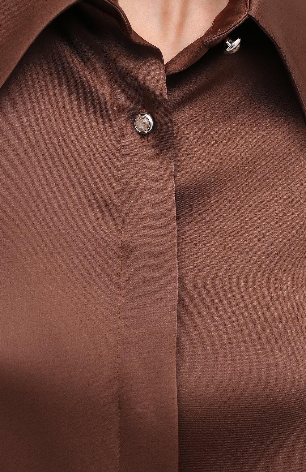 Женская блузка NANUSHKA коричневого цвета, арт. ALICE_BR0WN_SLIP SATIN   Фото 5