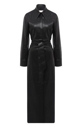 Женское платье с поясом NANUSHKA черного цвета, арт. ASAY0_BLACK_VEGAN LEATHER | Фото 1