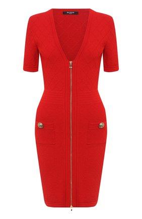 Женское платье из вискозы BALMAIN красного цвета, арт. UF16435/K110 | Фото 1