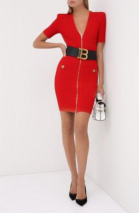Женское платье из вискозы BALMAIN красного цвета, арт. UF16435/K110 | Фото 2