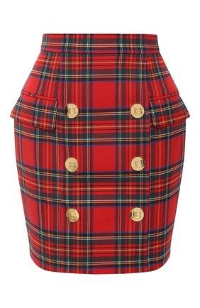 Женская шерстяная юбка BALMAIN красного цвета, арт. UF14004/W085 | Фото 1
