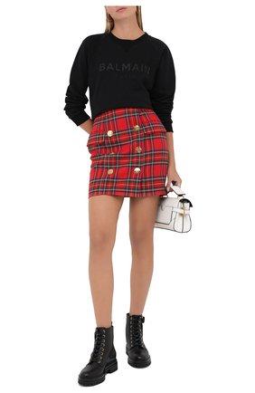 Женская шерстяная юбка BALMAIN красного цвета, арт. UF14004/W085 | Фото 2