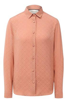 Женская шелковая рубашка GUCCI розового цвета, арт. 622196/ZADWP | Фото 1