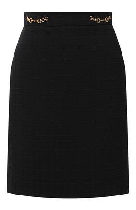 Женская юбка из хлопка и шерсти GUCCI черного цвета, арт. 632090/ZAD93 | Фото 1
