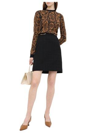 Женская юбка из хлопка и шерсти GUCCI черного цвета, арт. 632090/ZAD93 | Фото 2