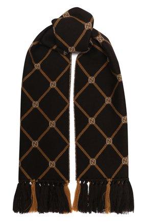 Мужские шерстяной шарф sonet GUCCI коричневого цвета, арт. 630769/3G200 | Фото 1