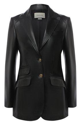 Женская кожаный жакет GUCCI черного цвета, арт. 629201/XN336 | Фото 1