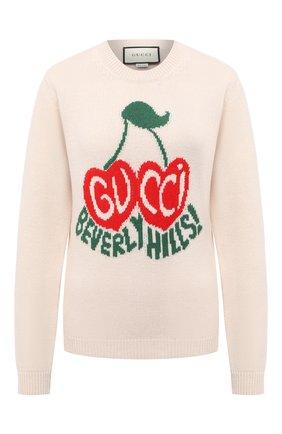Женская шерстяной свитер GUCCI белого цвета, арт. 629127/XKBHI | Фото 1