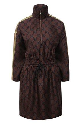 Женское шелковое платье GUCCI коричневого цвета, арт. 628781/XJCL5 | Фото 1
