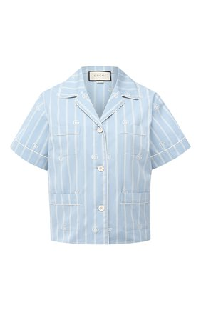 Женская хлопковая рубашка GUCCI голубого цвета, арт. 625908/ZAEF1 | Фото 1