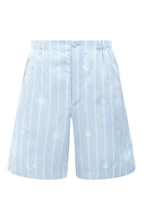 Женские хлопковые шорты GUCCI голубого цвета, арт. 619507/ZAEF1 | Фото 1