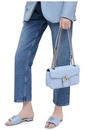 Женская сумка gg marmont small GUCCI голубого цвета, арт. 443497/DTDIY | Фото 2