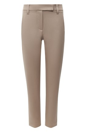 Женские хлопковые брюки BRUNELLO CUCINELLI темно-бежевого цвета, арт. MP126P7258 | Фото 1