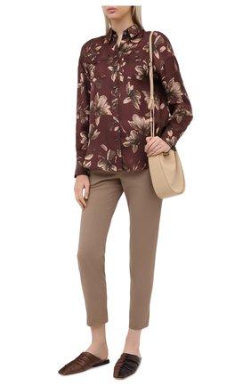 Женские хлопковые брюки BRUNELLO CUCINELLI темно-бежевого цвета, арт. MP126P7258 | Фото 2