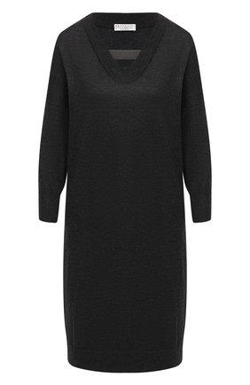 Женское платье из кашемира и шелка BRUNELLO CUCINELLI темно-серого цвета, арт. M13843A82 | Фото 1