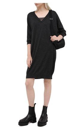 Женское платье из кашемира и шелка BRUNELLO CUCINELLI темно-серого цвета, арт. M13843A82 | Фото 2