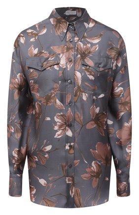 Женская шелковая рубашка BRUNELLO CUCINELLI серого цвета, арт. MD907ND306   Фото 1