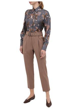 Женская шелковая рубашка BRUNELLO CUCINELLI серого цвета, арт. MD907ND306   Фото 2