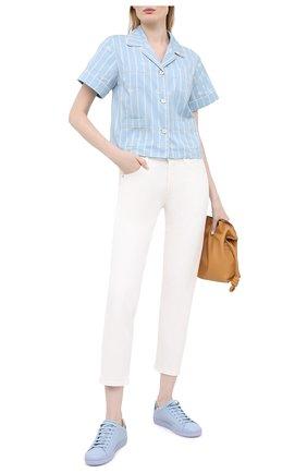 Женские кожаные кеды new ace GUCCI голубого цвета, арт. 598527/AY070 | Фото 2