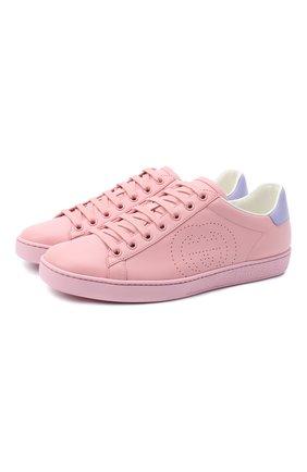 Женские кожаные кеды new ace GUCCI розового цвета, арт. 598527/AY070 | Фото 1