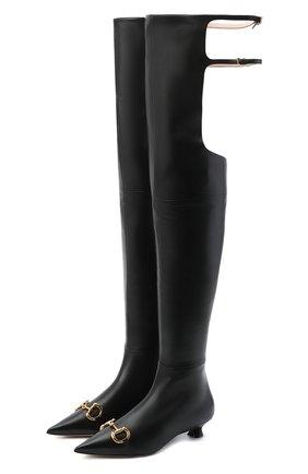 Женские кожаные ботфорты deva GUCCI черного цвета, арт. 621271/BK000 | Фото 1