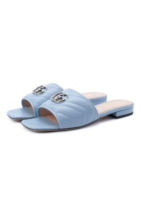 Женские кожаные шлепанцы jolie GUCCI голубого цвета, арт. 627827/BK000 | Фото 1